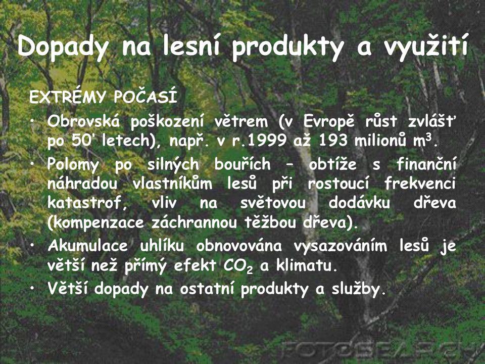 Dopady na lesní produkty a využití