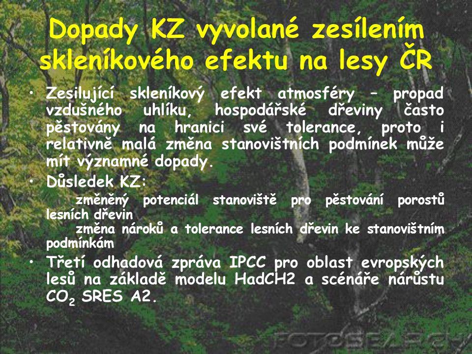 Dopady KZ vyvolané zesílením skleníkového efektu na lesy ČR