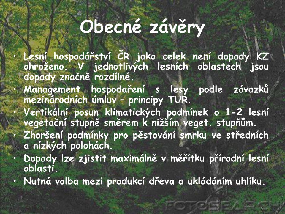 Obecné závěry Lesní hospodářství ČR jako celek není dopady KZ ohroženo. V jednotlivých lesních oblastech jsou dopady značně rozdílné.