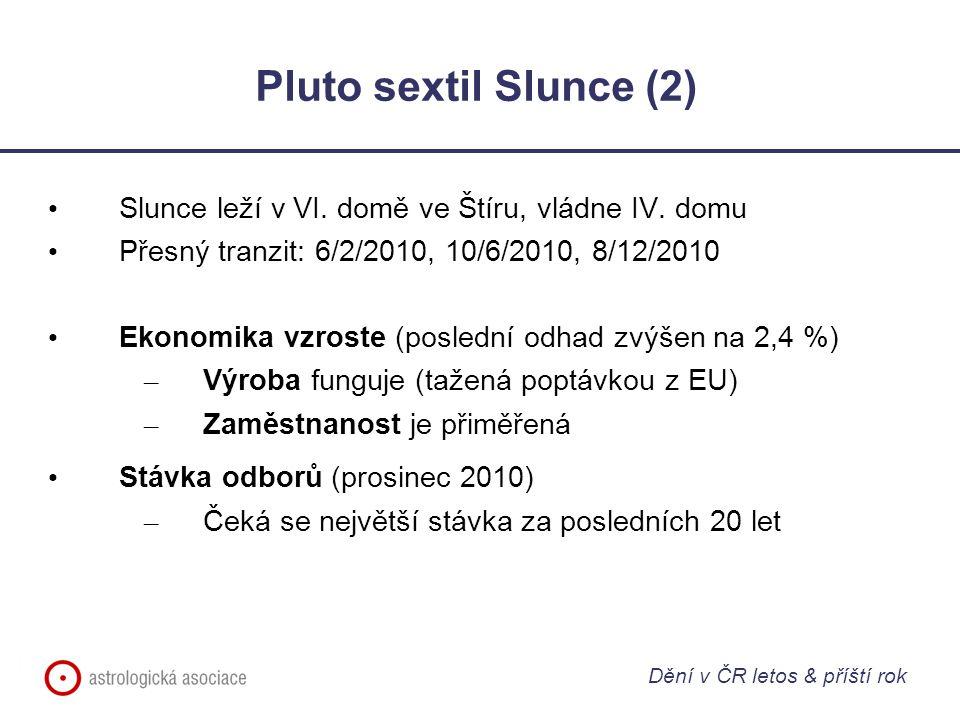 Pluto sextil Slunce (2) Slunce leží v VI. domě ve Štíru, vládne IV. domu. Přesný tranzit: 6/2/2010, 10/6/2010, 8/12/2010.