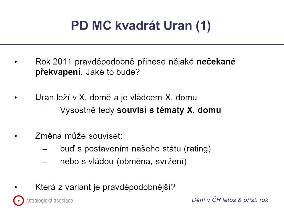 PD MC kvadrát Uran (1) Rok 2011 pravděpodobně přinese nějaké nečekané překvapení. Jaké to bude Uran leží v X. domě a je vládcem X. domu.