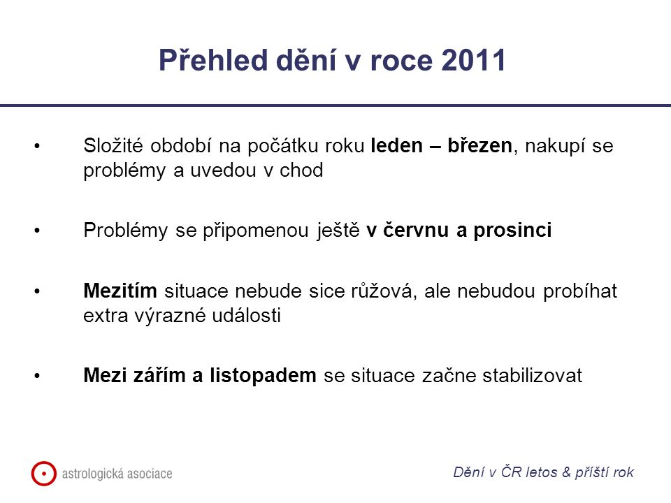 Přehled dění v roce 2011 Složité období na počátku roku leden – březen, nakupí se problémy a uvedou v chod.