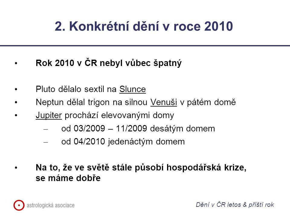 2. Konkrétní dění v roce 2010 Rok 2010 v ČR nebyl vůbec špatný