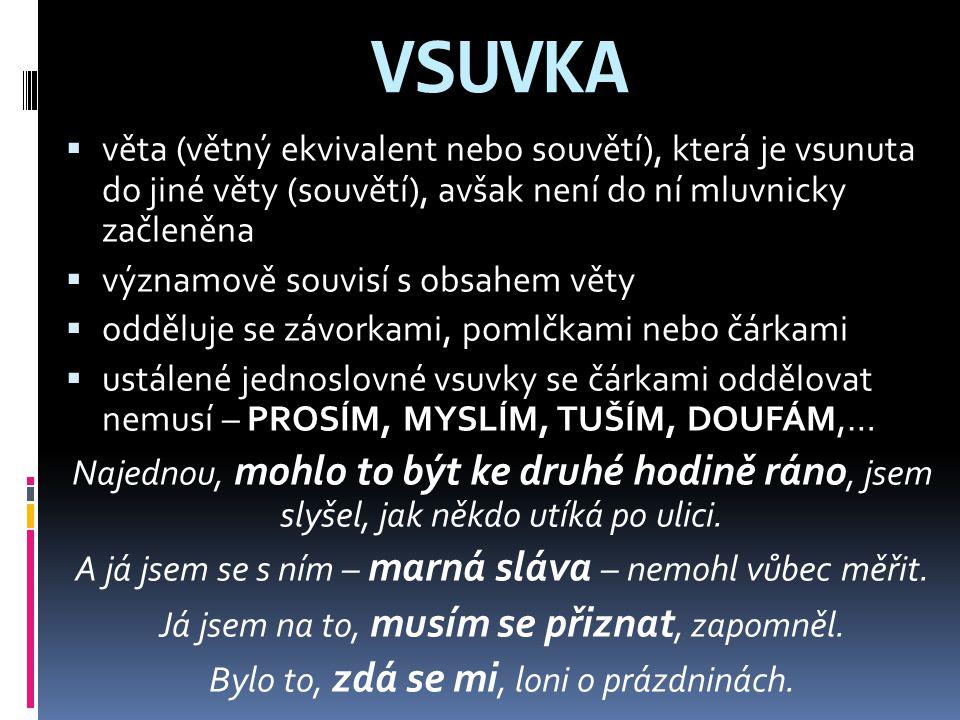 VSUVKA věta (větný ekvivalent nebo souvětí), která je vsunuta do jiné věty (souvětí), avšak není do ní mluvnicky začleněna.