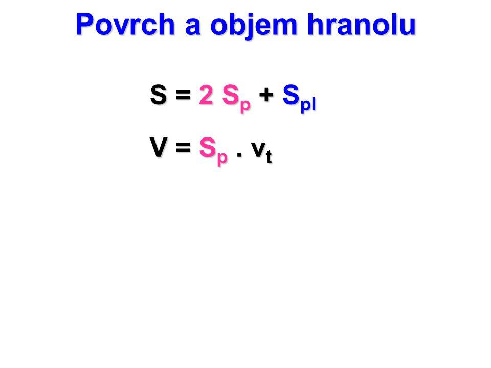 Povrch a objem hranolu S = 2 Sp + Spl V = Sp . vt