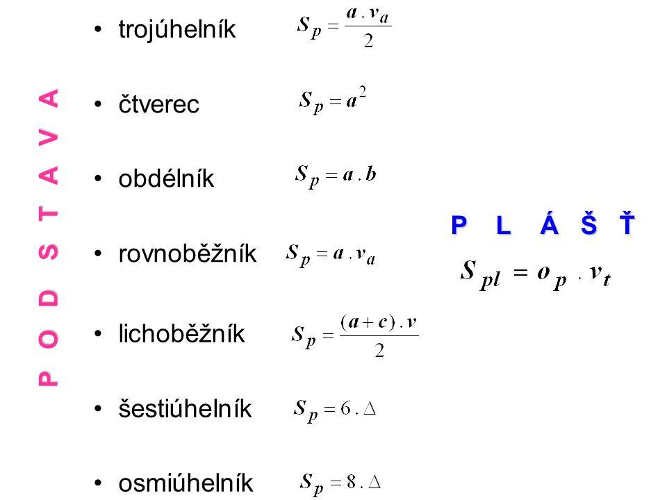 trojúhelník čtverec. obdélník. rovnoběžník. P O D S T A V A. P L Á Š Ť.