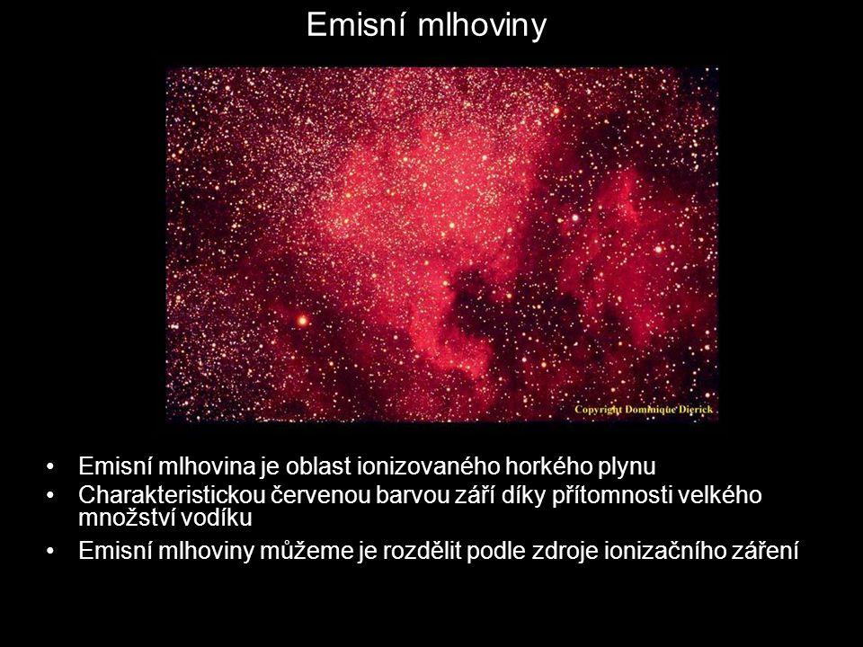 Emisní mlhoviny Emisní mlhovina je oblast ionizovaného horkého plynu