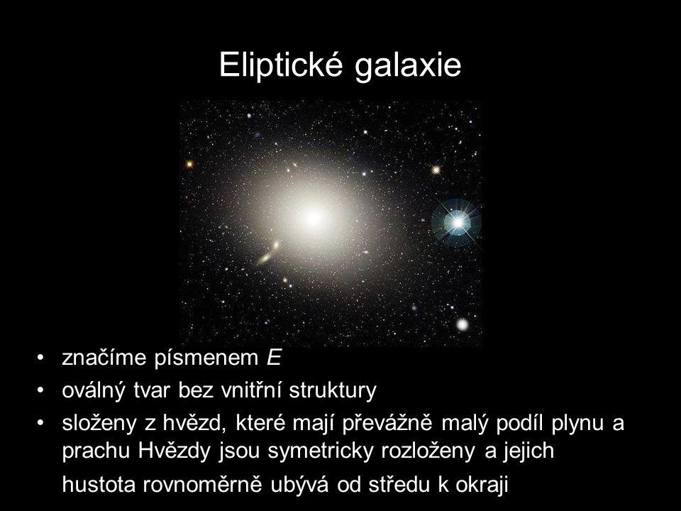 Eliptické galaxie značíme písmenem E oválný tvar bez vnitřní struktury