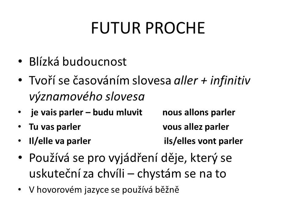 FUTUR PROCHE Blízká budoucnost