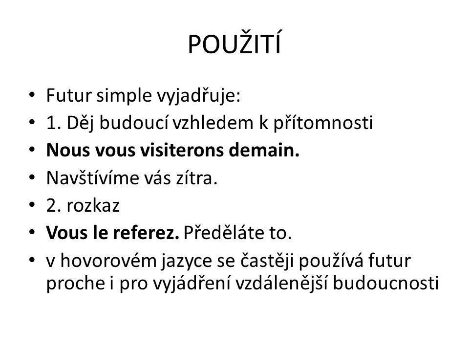 POUŽITÍ Futur simple vyjadřuje: 1. Děj budoucí vzhledem k přítomnosti