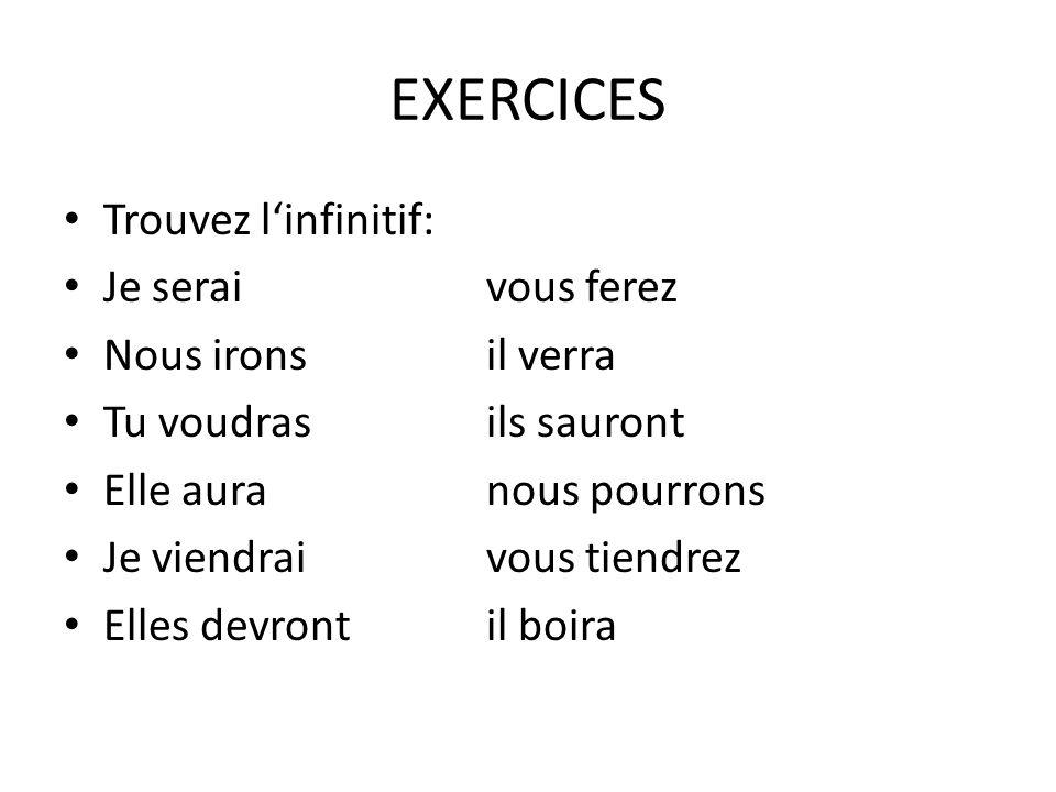 EXERCICES Trouvez l'infinitif: Je serai vous ferez Nous irons il verra