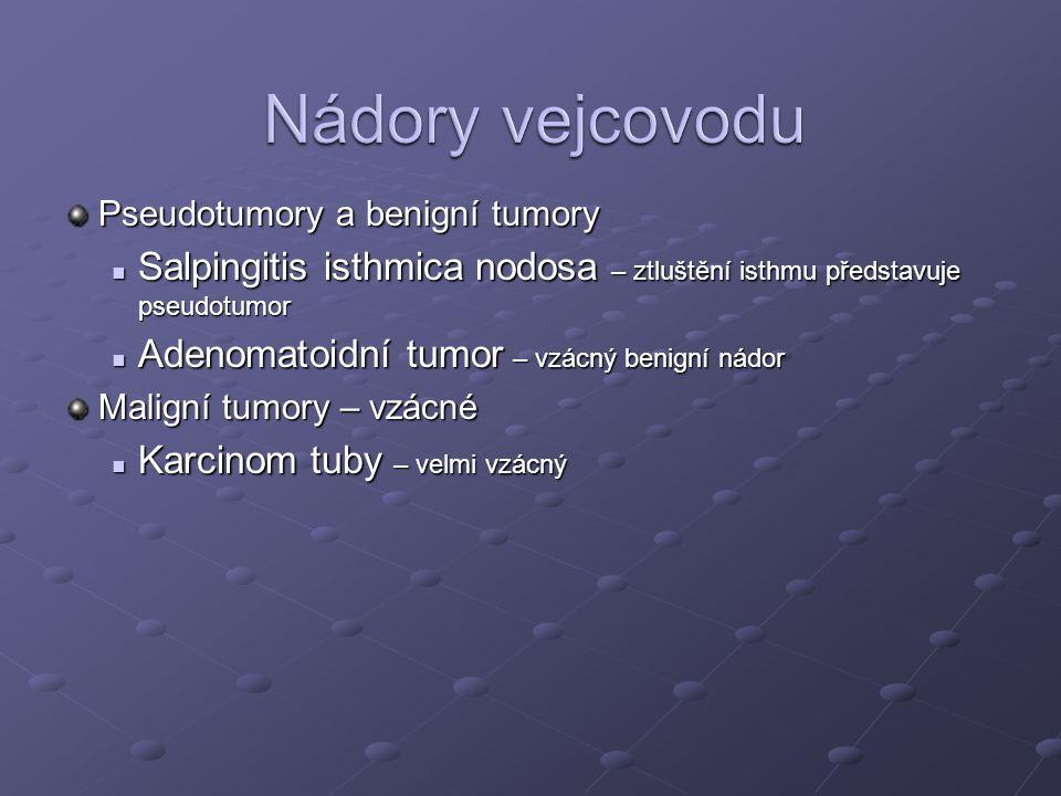Nádory vejcovodu Pseudotumory a benigní tumory. Salpingitis isthmica nodosa – ztluštění isthmu představuje pseudotumor.