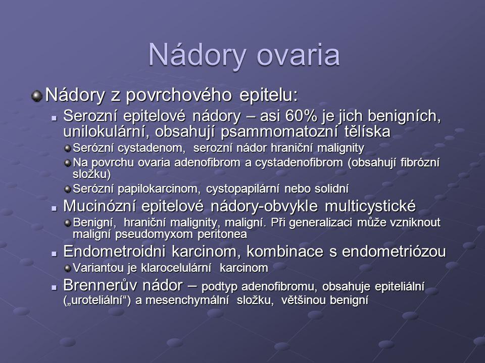 Nádory ovaria Nádory z povrchového epitelu: