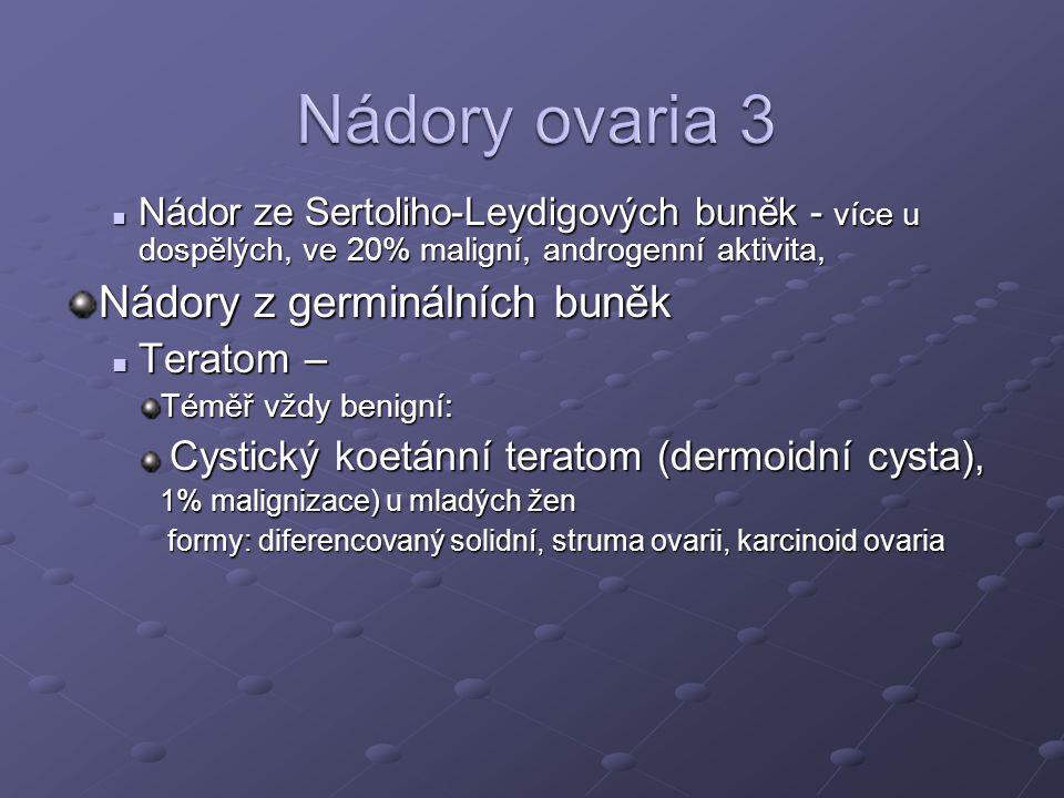Nádory ovaria 3 Nádory z germinálních buněk Teratom –