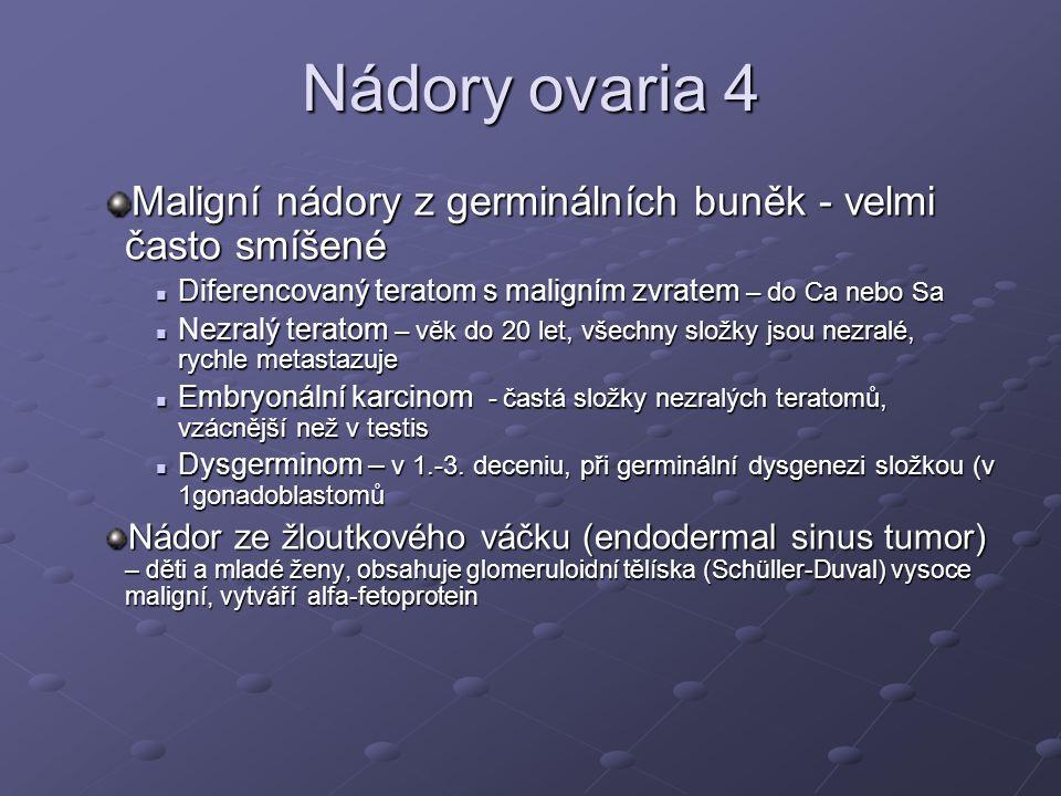 Nádory ovaria 4 Maligní nádory z germinálních buněk - velmi často smíšené. Diferencovaný teratom s maligním zvratem – do Ca nebo Sa.