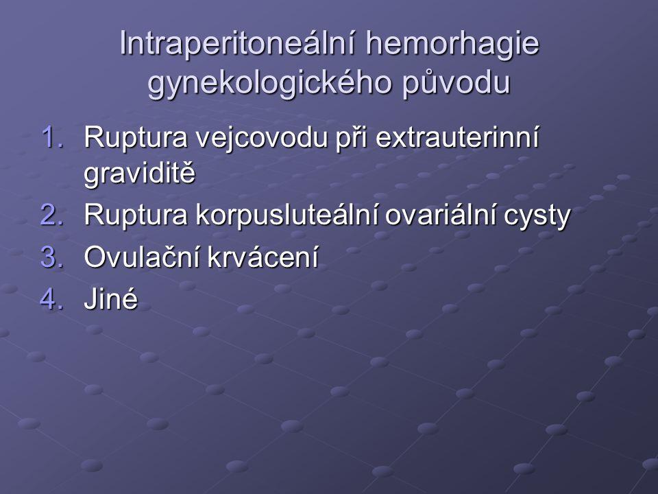 Intraperitoneální hemorhagie gynekologického původu