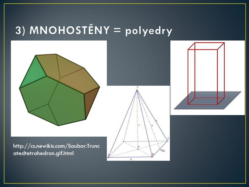 3) MNOHOSTĚNY = polyedry