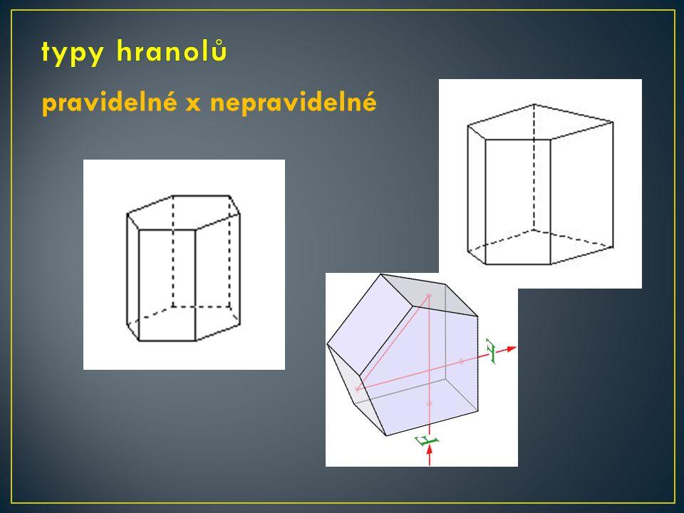 typy hranolů pravidelné x nepravidelné