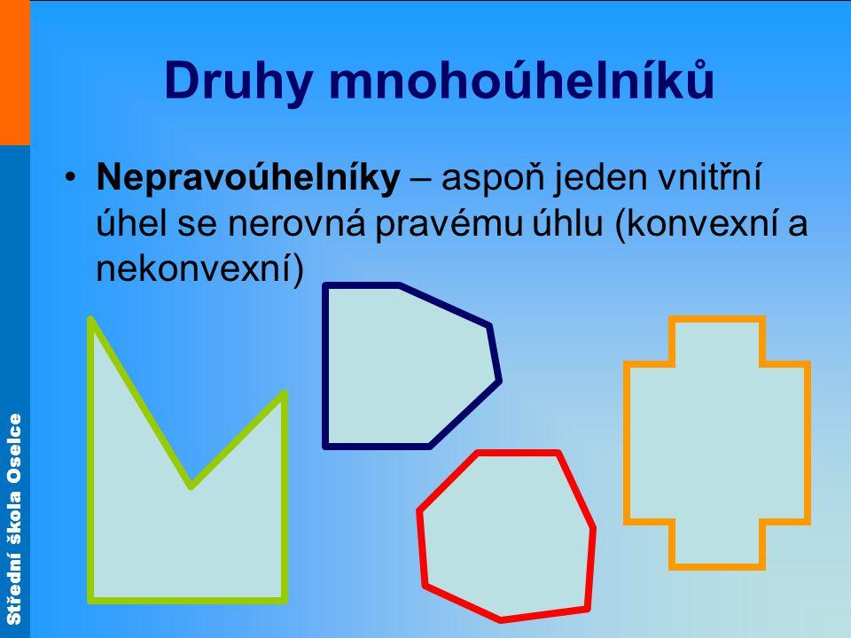 Druhy mnohoúhelníků Nepravoúhelníky – aspoň jeden vnitřní úhel se nerovná pravému úhlu (konvexní a nekonvexní)