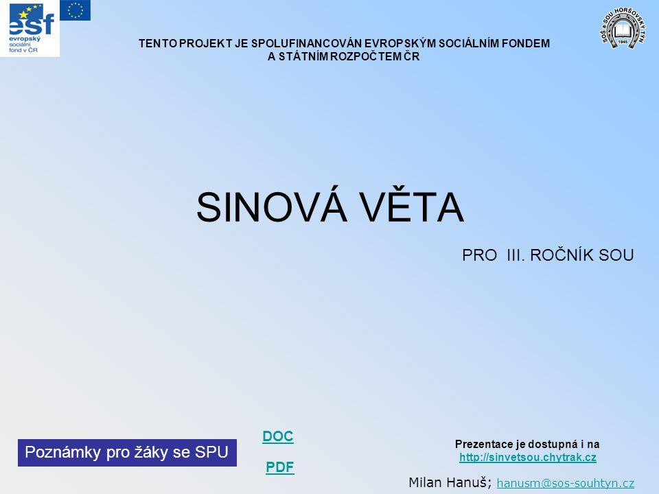 SINOVÁ VĚTA PRO III. ROČNÍK SOU Poznámky pro žáky se SPU DOC PDF