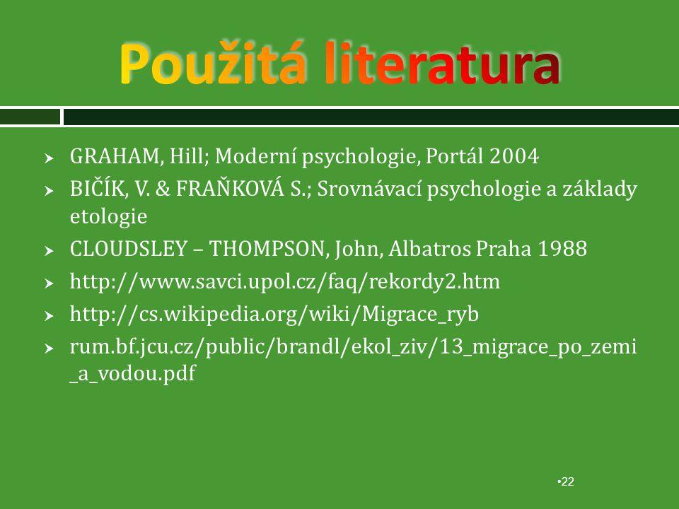 Použitá literatura GRAHAM, Hill; Moderní psychologie, Portál 2004