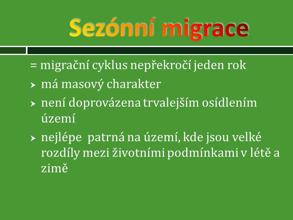 Sezónní migrace = migrační cyklus nepřekročí jeden rok