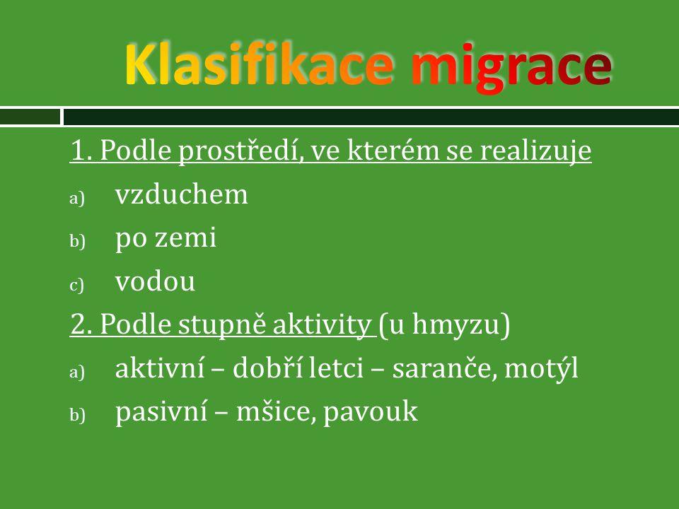 Klasifikace migrace 1. Podle prostředí, ve kterém se realizuje