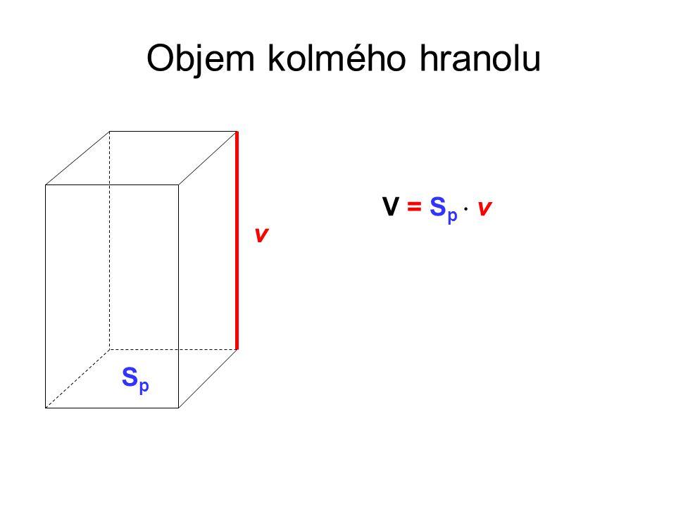 Objem kolmého hranolu V = Sp  v v Sp