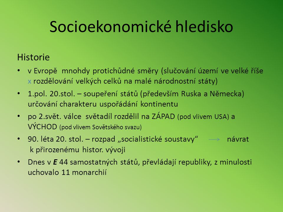 Socioekonomické hledisko