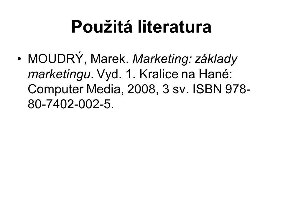 Použitá literatura MOUDRÝ, Marek. Marketing: základy marketingu.