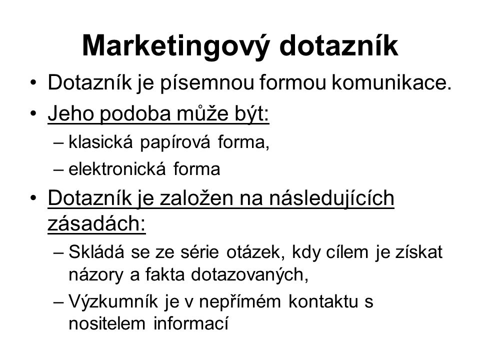 Marketingový dotazník