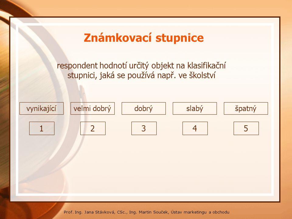 * 16. 7. 1996. Známkovací stupnice. respondent hodnotí určitý objekt na klasifikační stupnici, jaká se používá např. ve školství.