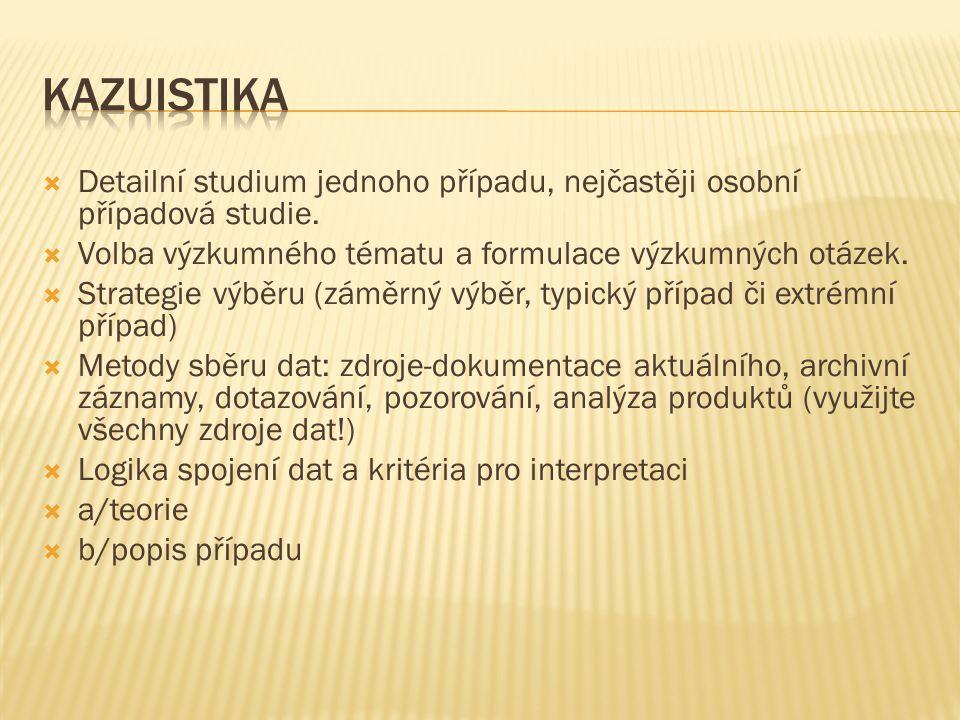 Kazuistika Detailní studium jednoho případu, nejčastěji osobní případová studie. Volba výzkumného tématu a formulace výzkumných otázek.