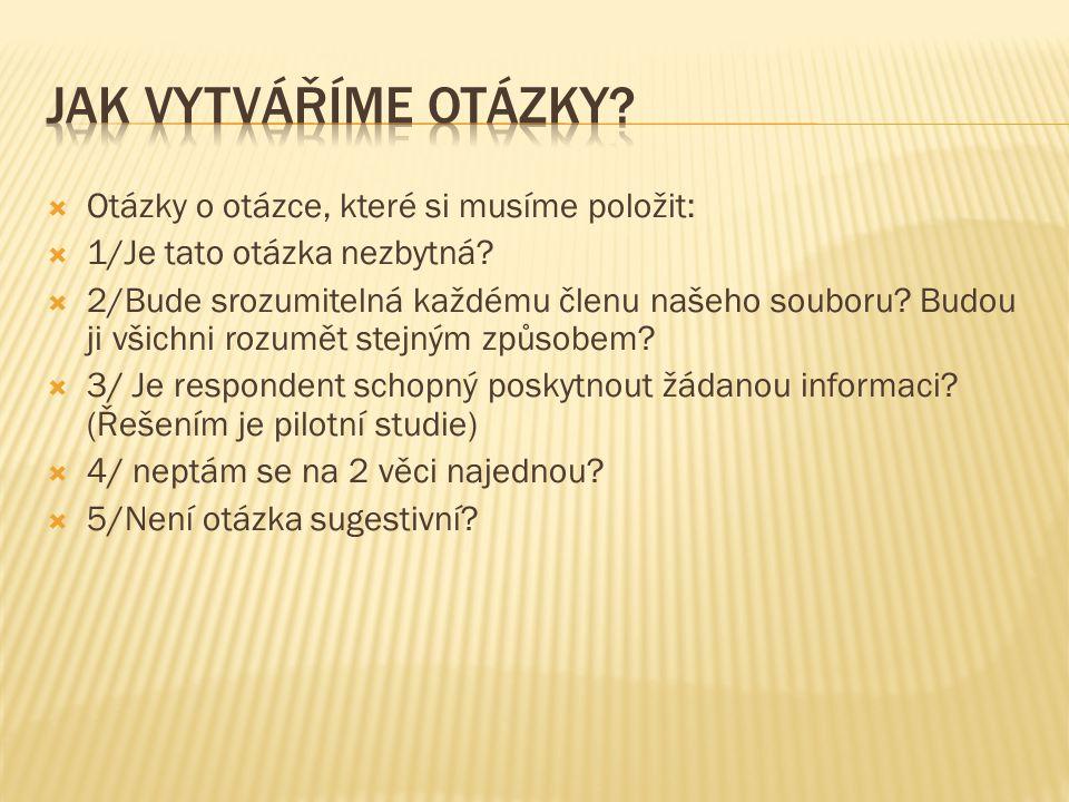Jak vytváříme otázky Otázky o otázce, které si musíme položit: