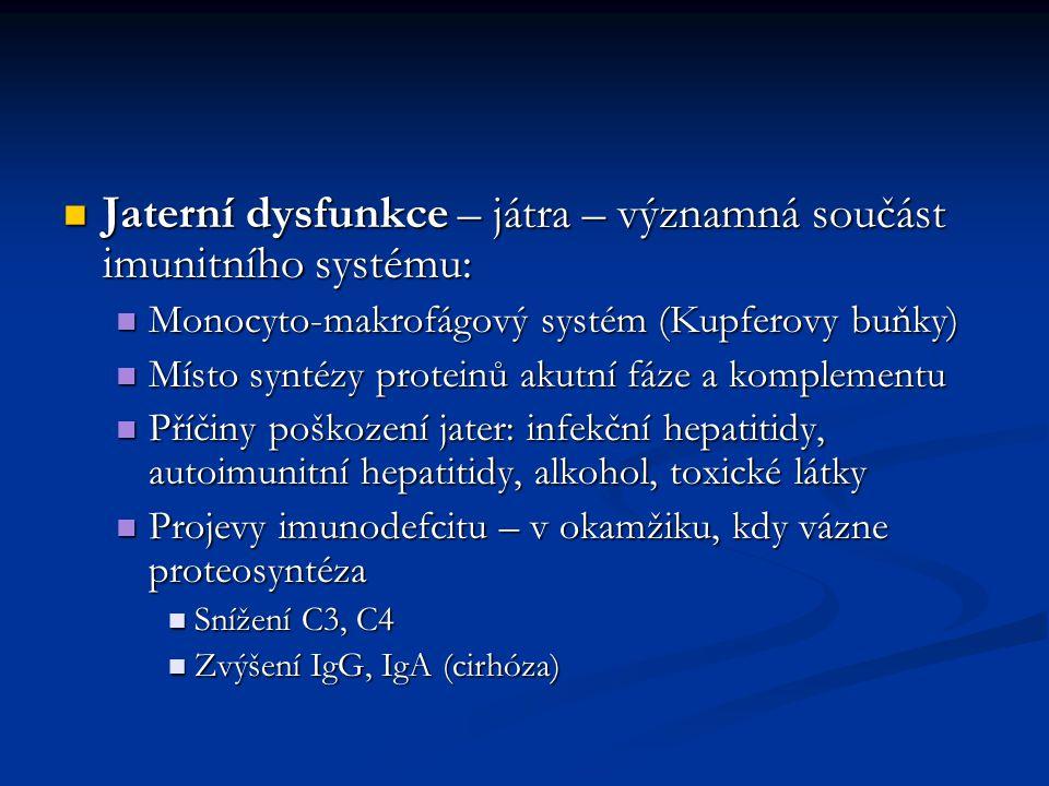 Jaterní dysfunkce – játra – významná součást imunitního systému: