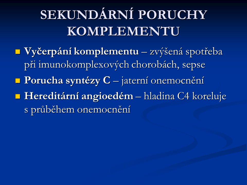 SEKUNDÁRNÍ PORUCHY KOMPLEMENTU