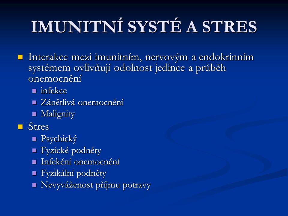 IMUNITNÍ SYSTÉ A STRES Interakce mezi imunitním, nervovým a endokrinním systémem ovlivňují odolnost jedince a průběh onemocnění.