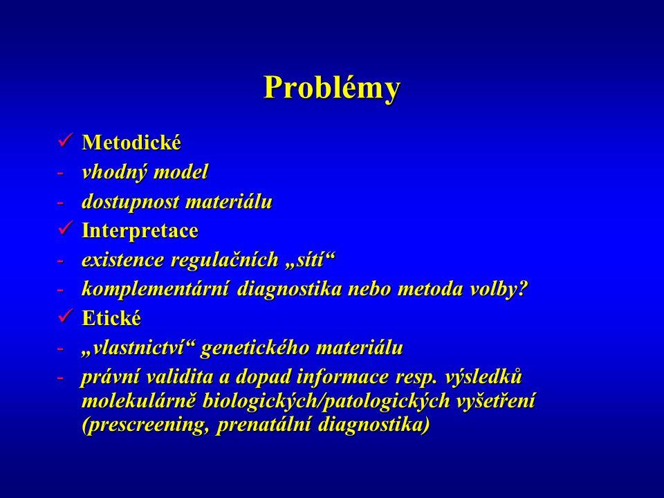 Problémy Metodické vhodný model dostupnost materiálu Interpretace