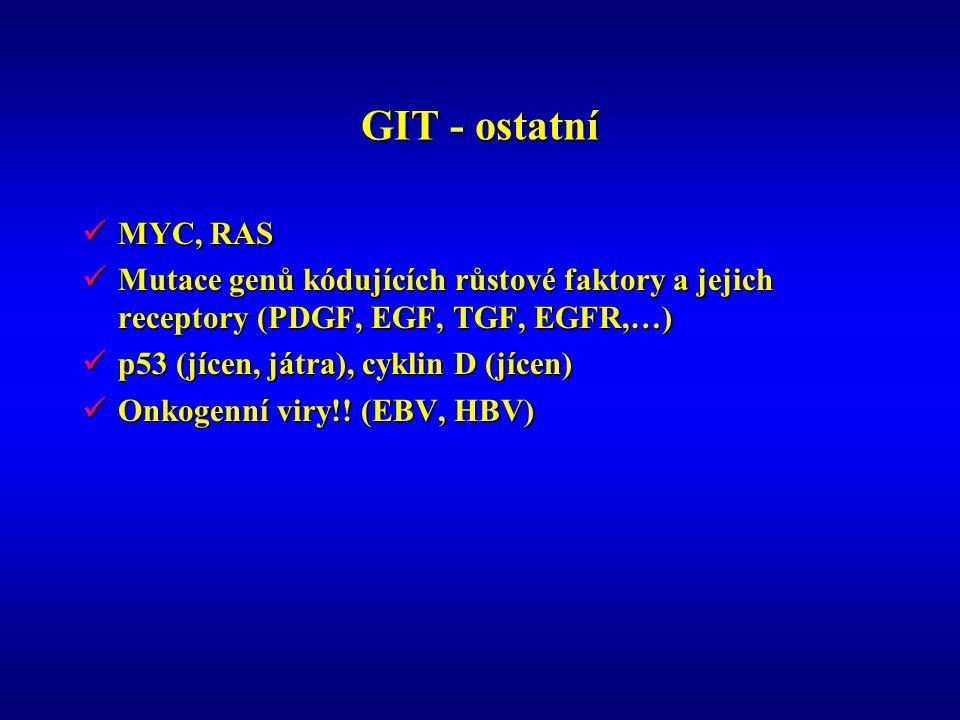 GIT - ostatní MYC, RAS. Mutace genů kódujících růstové faktory a jejich receptory (PDGF, EGF, TGF, EGFR,…)