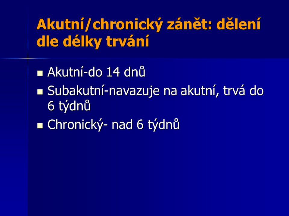 Akutní/chronický zánět: dělení dle délky trvání