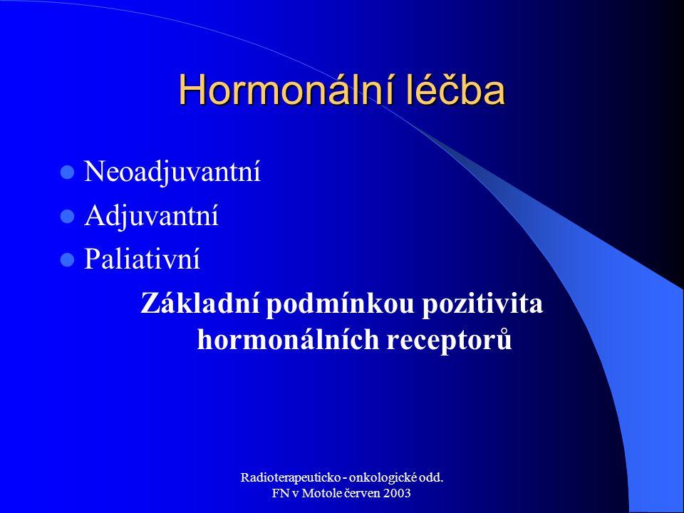 Základní podmínkou pozitivita hormonálních receptorů