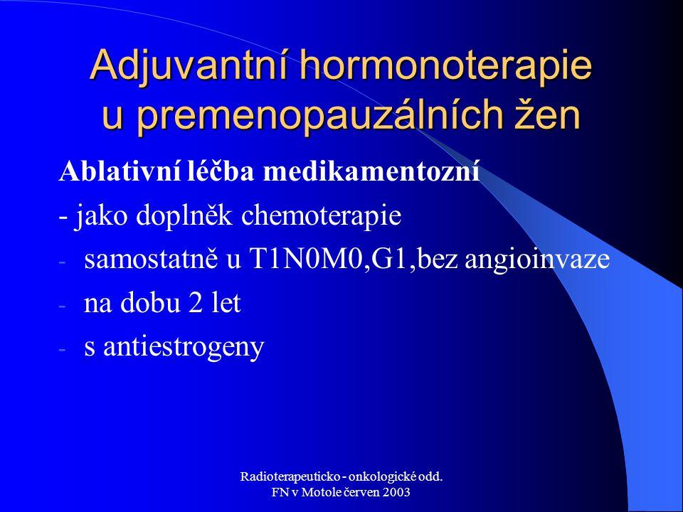 Adjuvantní hormonoterapie u premenopauzálních žen