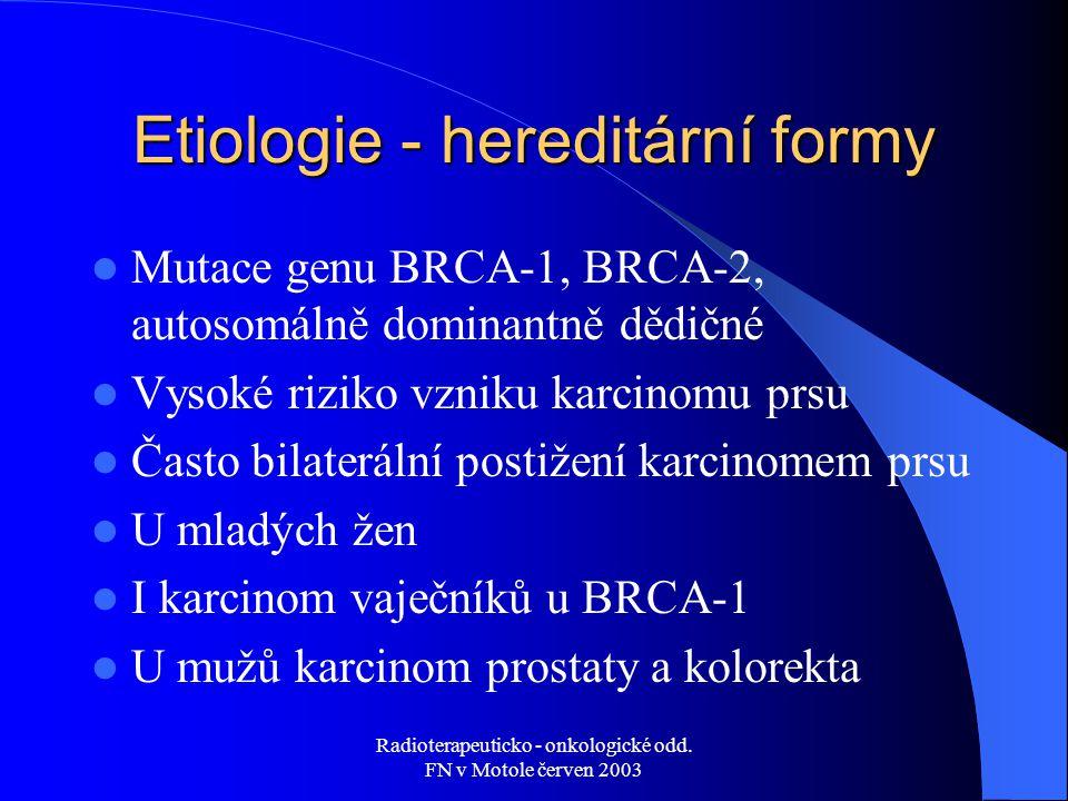 Etiologie - hereditární formy