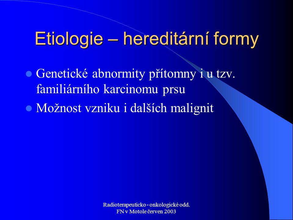 Etiologie – hereditární formy