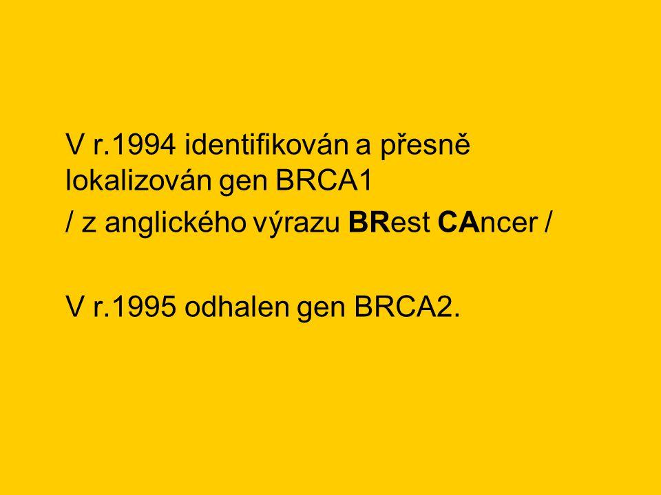 V r.1994 identifikován a přesně lokalizován gen BRCA1