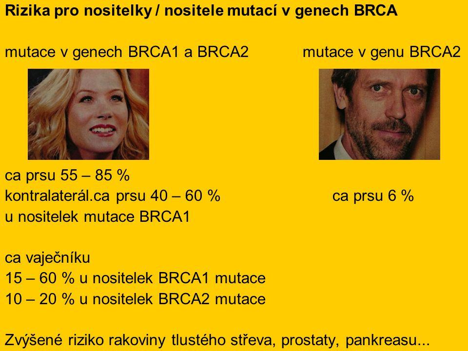 Rizika pro nositelky / nositele mutací v genech BRCA