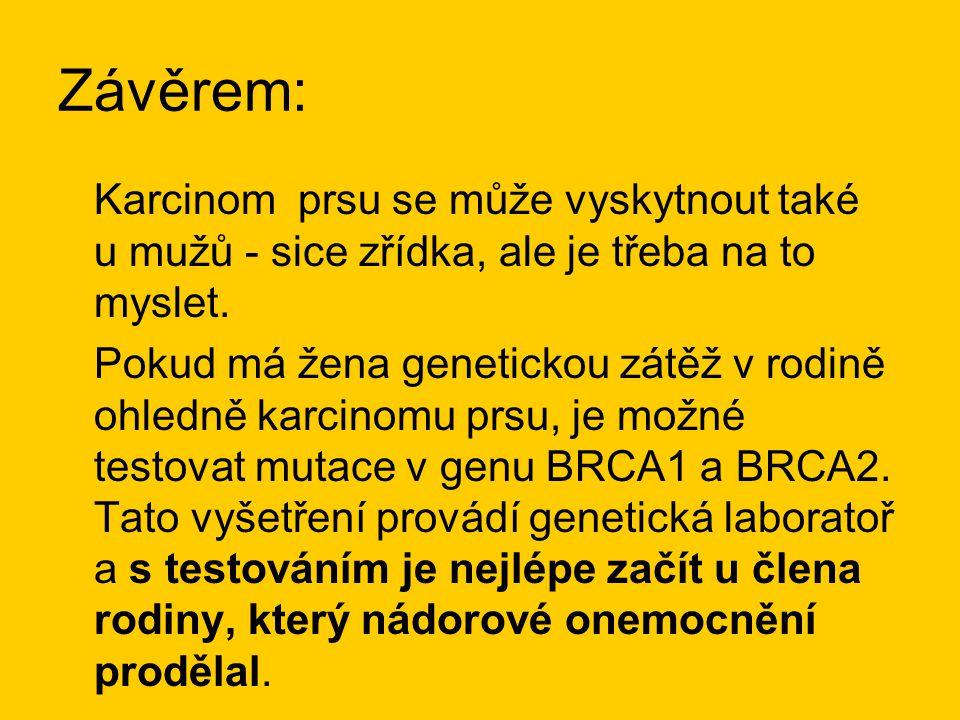 Závěrem: Karcinom prsu se může vyskytnout také u mužů - sice zřídka, ale je třeba na to myslet.