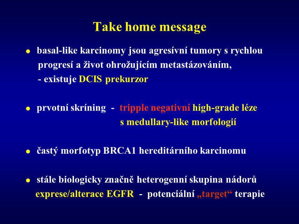 Take home message basal-like karcinomy jsou agresívní tumory s rychlou