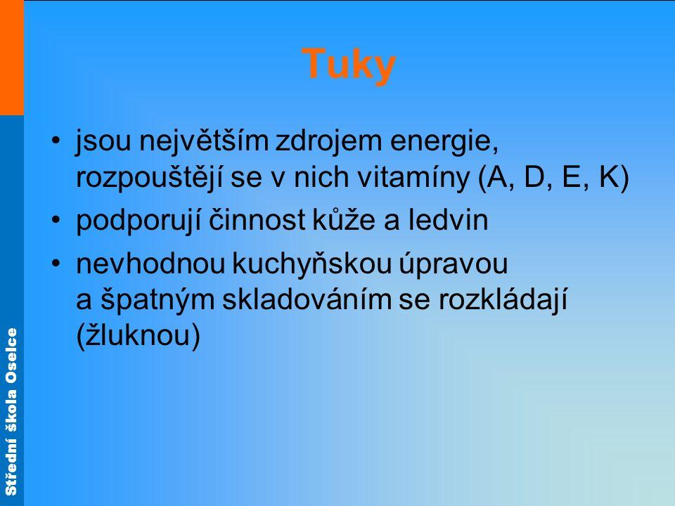 Tuky jsou největším zdrojem energie, rozpouštějí se v nich vitamíny (A, D, E, K) podporují činnost kůže a ledvin.