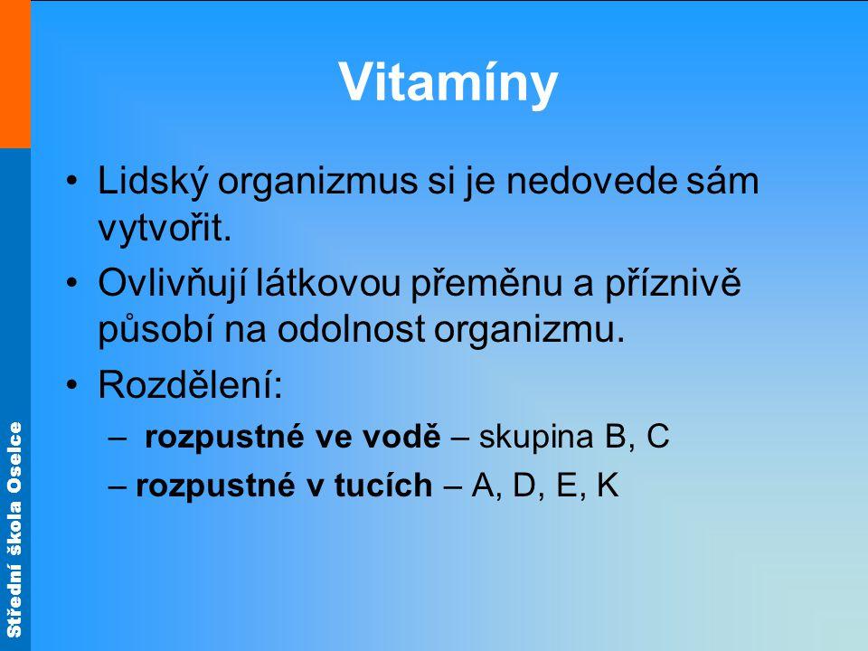 Vitamíny Lidský organizmus si je nedovede sám vytvořit.